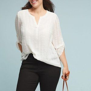 ANTHROPOLOGIE Lace Striped Embroidered Blouse {Q4}